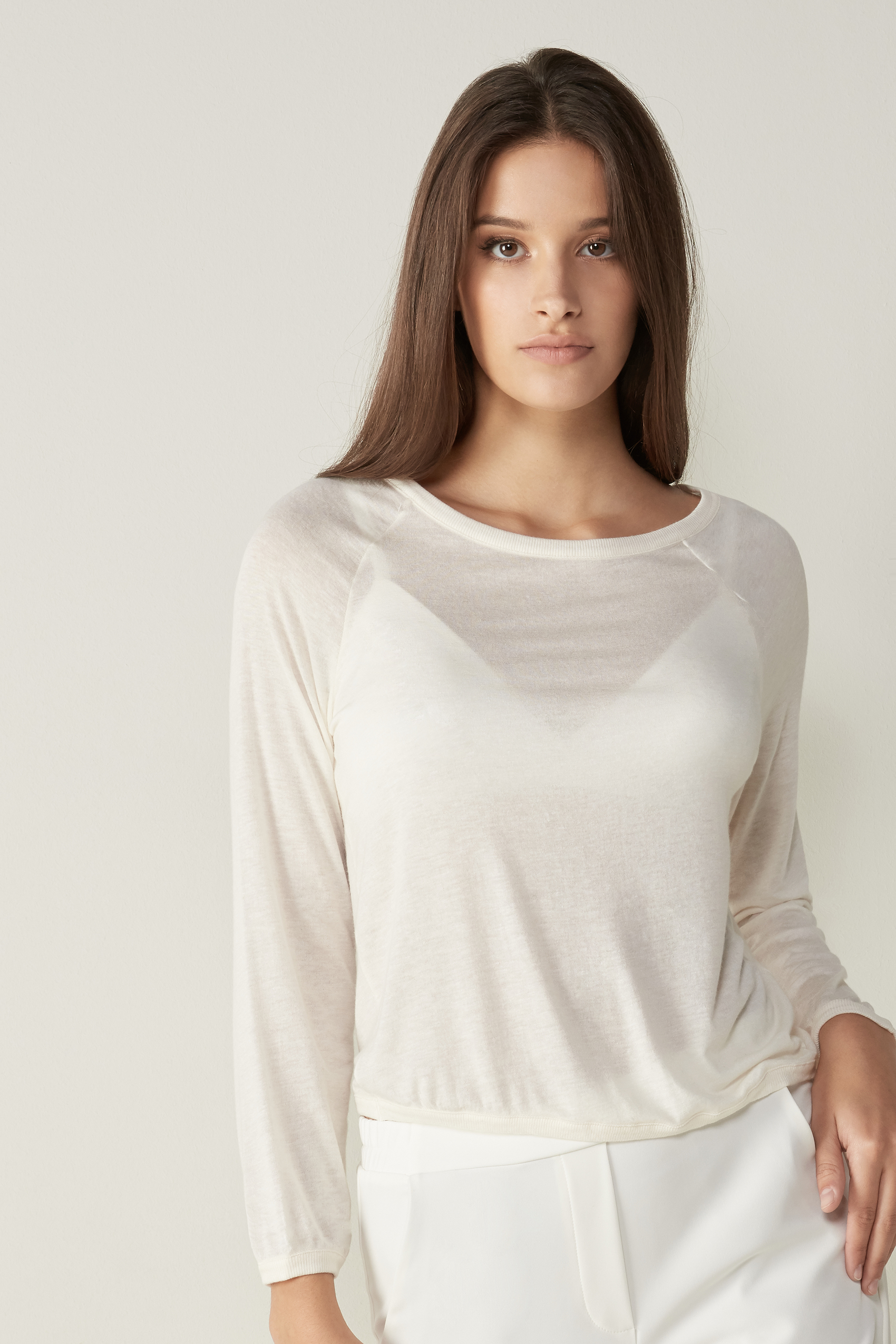 Intimissimi Womens Modal Cashmere Ultralight Wide-Shoulder Top